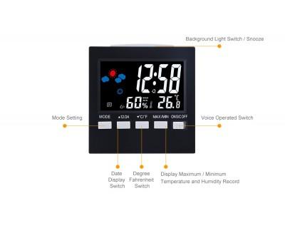 قیمت خرید ساعت دیجیتال رومیزی با دما سنج و رطوبت سنج 2159T