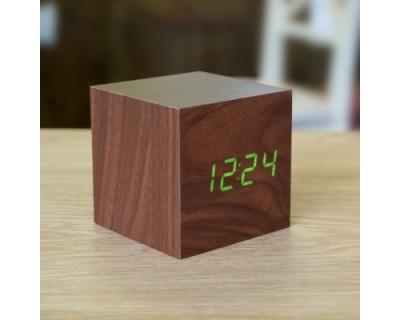قیمت خرید ساعت و دماسنج رومیزی طرح چوب مربعی