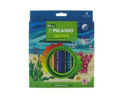 خرید مداد رنگی 24 رنگ مقوایی پیکاسو Picasso SUPERB WRITER